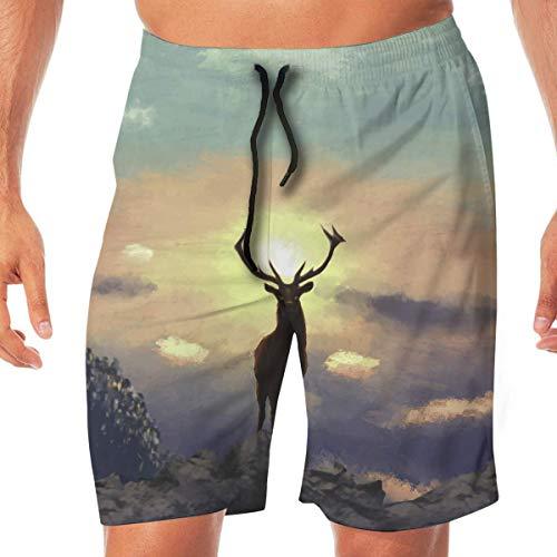 Ye Hua Herren Sportbekleidung Sunrise Deer Summer Atmungsaktive schnelltrocknende Badehose Strandshorts Boardshorts XXL