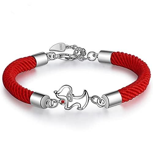 Elnker 925 Pulseras de Plata esterlina para Las Mujeres Película de Perro Lindo de la Cuerda de la Suerte