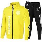 SPONYBORTY de Los Hombres Chandal Conjunto Trotar Traje Hus.qv_arna Hooded Zipper Chaqueta + Pantalones Sudadera Baloncesto Ropa Colocar/yellow/XL