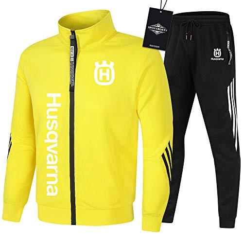 SPONYBORTY de Los Hombres Chandal Conjunto Trotar Traje Hus.qv_arna Hooded Zipper Chaqueta + Pantalones Sudadera Baloncesto Ropa Colocar/yellow/L