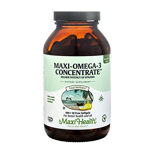 Maxi Health Omega-3 Fatty Acids Concentrate - Fish Oil - 2000mg - 180 + 10 Gel Capsules - Kosher