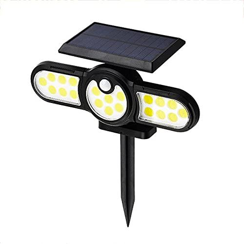 Wolfberrymetal Luces solares al Aire Libre Iluminación de Tres Cabezas al Aire Libre Lámpara de Suelo de césped Sensor de Movimiento PIR Foco de Paisaje Luces de jardín