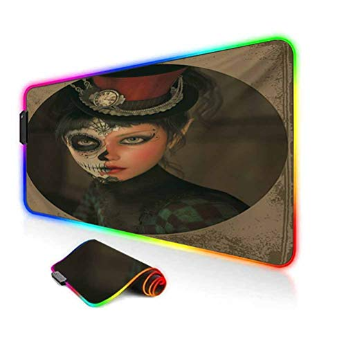 RGB Gaming Mouse Pad Mat,Antique Portrait Girl with Calavera Inspired Makeup and Topper Realistic Design Non-Slip Mousepad Rubber Base,35.6'x15.7',for MacBook,PC,Laptop,Desk Multicolor