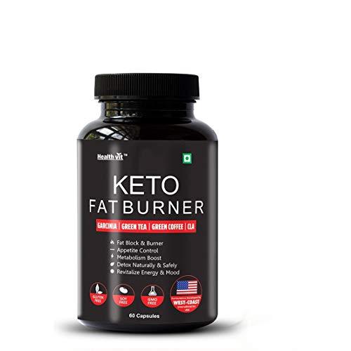 Healthvit Keto Fat Burner With Garcinia, Green Tea, Green Coffee, CLA 60 Capsules