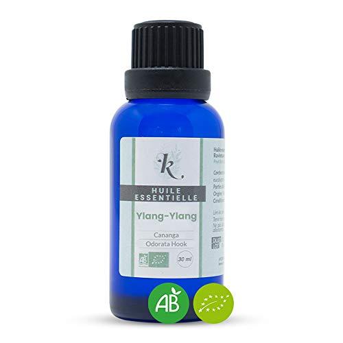 KLARCHA - Huile Essentielle d'Ylang-Ylang HEBBD - 100% Pure et Naturelle - Issue de l'Agriculture Biologique - Labellisée ECOCERT - Sans OGM - Flacon 30 ml - Fabriquée en France