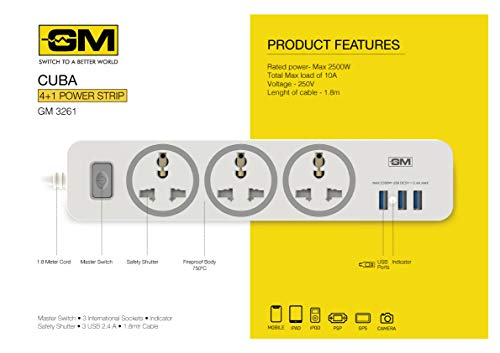 GM 3261 CUBA 4+1 Powerstrip with Master Switch