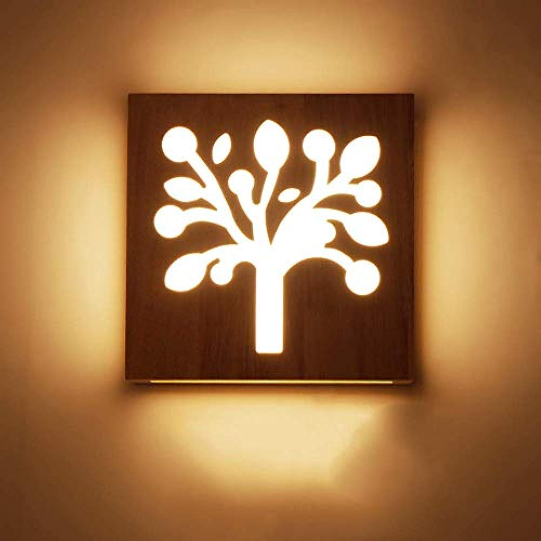 SPA  Moderne Nachttischlampe Wandleuchte Einfache Kreative Massivholz LED Energiesparende Schlafzimmer Nachttischlampe Holzwandmontierte Wohnzimmer Gang Flur Hotel Licht (Gre  Zweig)