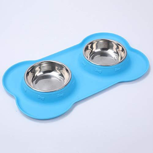 Ciotole per cani in acciaio inox antiscivolo, doppie ciotole per animali domestici, con vassoio in silicone anti-fuoriuscita, per gatti, cuccioli, cani di piccola taglia (blu)