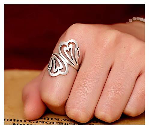 RXISHOP Anillo para mujer de plata 990 con patrón hueco, anillo de plata vintage para dedo índice de joyería de boda tamaño 11-19 anillo 14#