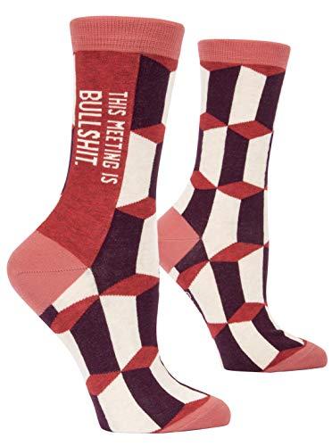 Blue Q Socks, Women's Crew, This Meeting is Bulls--t,Women's Shoe Size 5-10