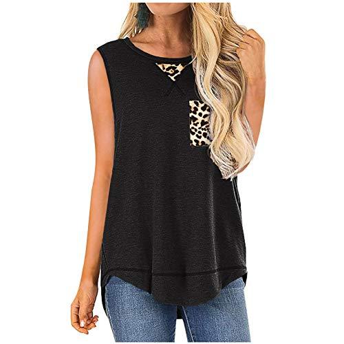 T-shirt décontracté pour femme - Motif léopard - Avec poche - Col en O - Sans manches - Noir
