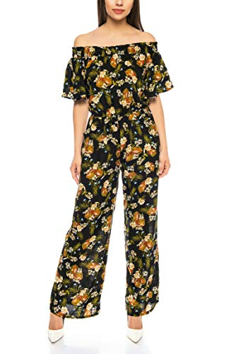 Kendindza Damen Overall Allover-Print | Floral Jumpsuit | Flower Hosenazug (Schwarz, S/M)