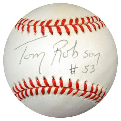 Authentic Autographed Tom Robson National League Baseball Texas Rangers ~ PSA/DNA Authentication ~ MLB Baseballs