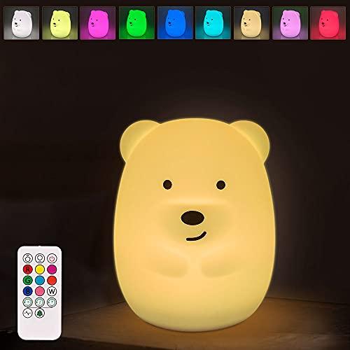 Nachtlicht Kinder, Infankey Nachtlicht Baby Silikon mit Fernbedienung, 9 Farben/ 2 Modi/3 Timer/USB Aufladung, Touch Dimmbar Nachtlicht Steckdose für Deko, Geschenk, Kinderzimmer