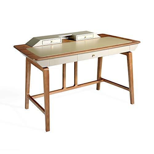 Angel Schwein | Schreibtisch aus Walnussholz und Deckel aus Kunstleder in Seidenoptik, mit Schubladen aus lackiertem Holz, glänzend, moderner Stil