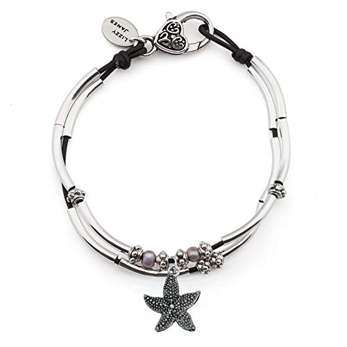 Lizzy James Lucy Anklet in Natural Black Leather Silver Plate Crescents (Silver Starfish Charm, 12 INCH)