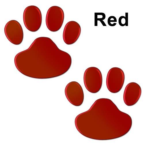 BYTT Juego de 2 pegatinas para coche, diseño de huellas en 3D, diseño de perro, gato, oso de gato, pie de huellas de huellas de huellas de huellas y pegatinas para hombre (nombre de color: rojo)
