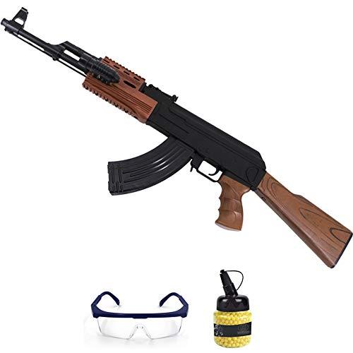 Fusil P48 (6mm)   Arma de Airsoft Tipo Kalashnikov AK47 para Bolas de PVC. Sistema: Muelle. Incluye Gafas y Bolas