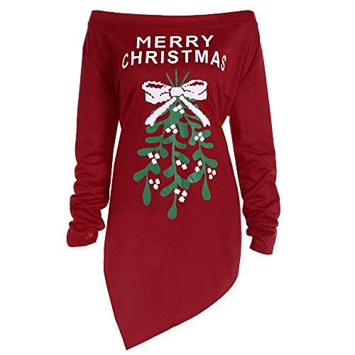 VEMOW Heißer Elegante Damen Frauen Weihnachten Druck Brief Roten Kleid Damen Weihnachtsbaum Langarm Casual Daily Freizeit Party Kleider(Weinrot, 40...