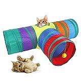 DingGreat Túnel de gato plegable de 3 vías, juguete interactivo con actividad de bola de anillo de juguete de túnel plegable para gatito, conejos, hámster, perros pequeños