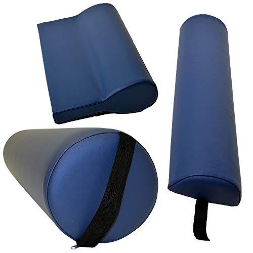 Massagezubehör Set 3 bestehend aus 1x Vollrolle Knierolle mit Griff 1x Lagerungsrolle Halbrolle und 1x Nackenkissen Kopfstütze für die Massageliege wasserabweisend in Taubenblau