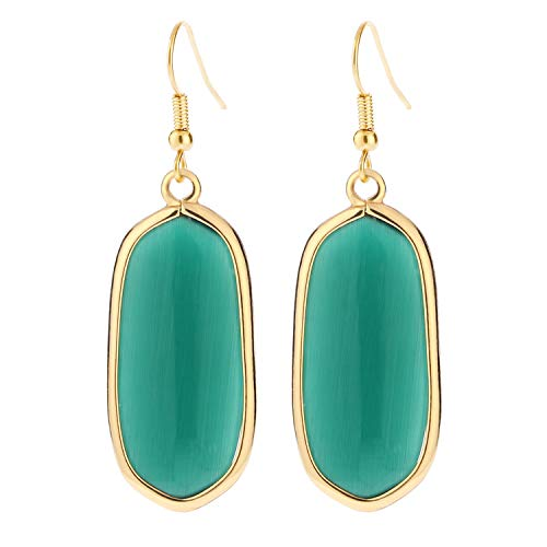 BaubleStar Natural Crystal Healing Stone Drop Earrings Green Opal Jasper Gemstone Quartz...