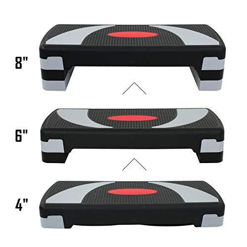 ZENY 31' Aerobic Stepper Platform Aerobics Trainer Adjustable Exercise Fitness Workout Stepper Adjust 4' - 6' - 8'