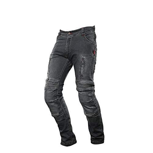 4SR Kevlar Jeans Herren Motorrad, Club Sport Grau Motorradjeans, Elastisch Kevlar Hose für mehr Tragekomfort, Patentierte Fixierung für der Protektoren, Grau (EU60 - W42 Standardlänge)