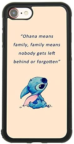 Lilo & Stitch Quote Art Case for iPhone 7, iPhone 8 (4.7 Inch) Comic TPU Silicone Gel Edge + PC Bumper Case Skin Protective Custom Designed Printed Phone Protector Full Protection Cover
