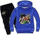 FLYCHEN Tuta con Motivo Dragon Ball Son Goku per Ragazzi e Bambini Felpa Goku Cappuccio Kakarotto Fans Top Cartoni Animali - Blu - 170
