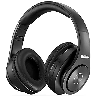 Bluetooth Headphones Wireless,Tuinyo Over Ear Stereo Wireless Headset 35H Playtime with deep bass, Soft Memory-Protein Earmuffs, Built-in Mic Wired Mode PC/Cell Phones/TV- Black (Black) from TUINYO
