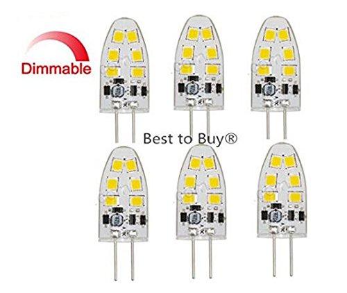 Best to Buy® Lot de 10 ampoules LED G4 1,8 W Blanc chaud 2700 K Intensité variable 12 V - 18 V AC/DC Tension alternative avec 12 x 2835 SMD (Epistar) ~ 9-11 W 330° Culot à broche