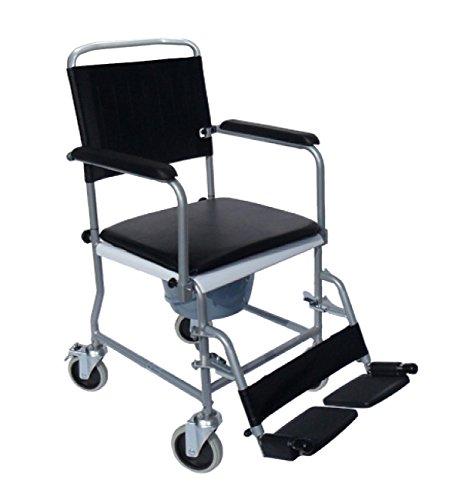 FabaCare Premium Toilettenrollstuhl, Badezimmerrollstuhl, Toilettenstuhl, Rollstuhl mit WC-Eimer, Hygienerollstuhl bis 120 kg, Anthrazit