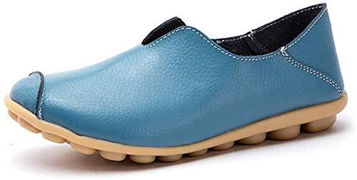 (カレン) Floralover レディース モカシン 女性 スリッポン スニーカー レディース ドライピングシューズ 運転靴 フラット ローファー 靴 ナースシューズ 妊娠中の女性の靴 柔らか 軽量 通気 滑り止め 快適 ブルー 25.0cm