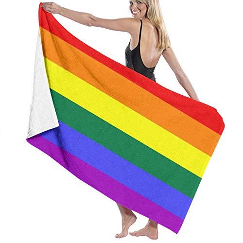 LGBT Toalla de microfibra con bandera del orgullo gay para piscina, playa, toalla de baño de secado rápido (80 x 130 cm)