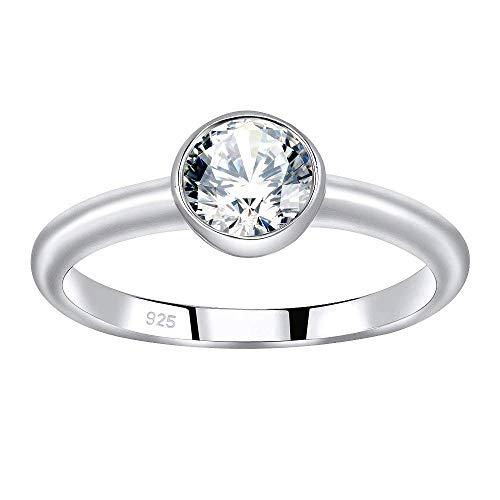 SILVEGO Verlobungsring aus 925 Sterling Silber ISADORA mit Swarovski® Zirconia