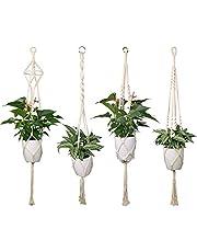 Luxbon Set van 4 Macramé Plantenhanger Hangende Bloempot met Katoenen Touw Plantenhouder - voor Binnen en Buiten Plafond Balkon Muur Decoratie 41 inch, 4 poten