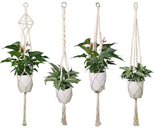Luxbon 4er Set Makramee Blumenampel Baumwollseil Hängeampel Blumentopf Pflanzen Halter Aufhänger für Innen Außen Decken Balkone Wanddekoration - 41 Zoll, 4 Beine