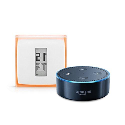 Amazon Echo Dot (2ème génération), Noir + Thermostat Connecté Netatmo by Starck
