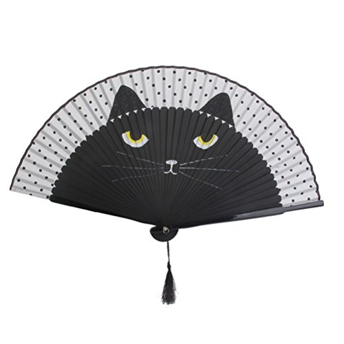 Rosenice faltbarer Ventilator für den Sommer, niedliche Katze, Bambus aus Seide, handbemalt mit Cartoon-Motiven, Ventilator