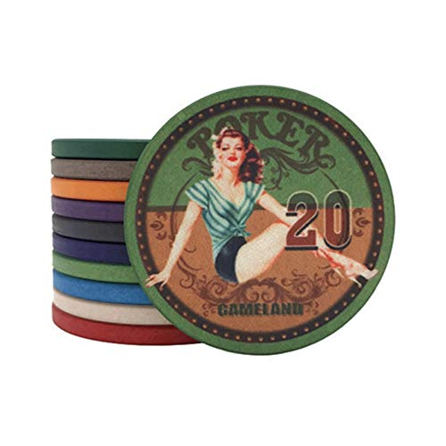 RKRXDH 25Pcs / Lots Ceramic Poker Chips Texas Hold'em Casino Club Spielkarten ETP Chips Set Brettspiele Chips Kartendecks Chip Casino Jetons Casino (Color : 20 Face Value)