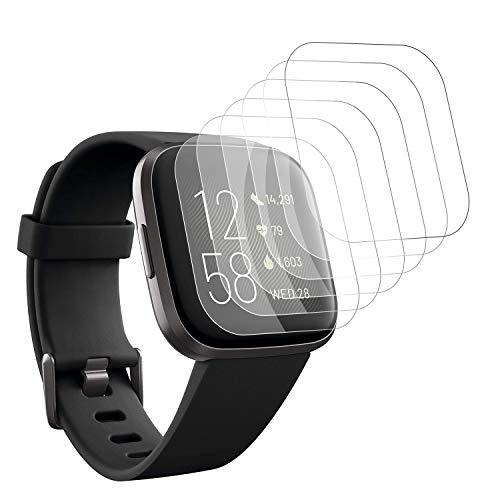 DASFOND [6 Stück] Schutzfolie für Fitbit Versa 2, [Anti-Kratzer] [Blasenfreie] [Kompatibel mit Hülle] HD Soft TPU Displayschutzfolie für Fitbit Versa 2(Nicht Panzerglas)
