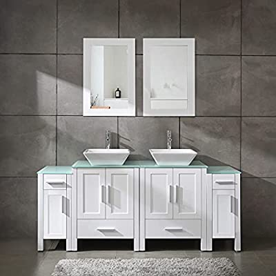 """Homecart 72"""" Double Sink Bathroom Vanity Cabinet Combo Glass Top White Wood w/ 2 Basin Faucets Mirrors and Drains"""