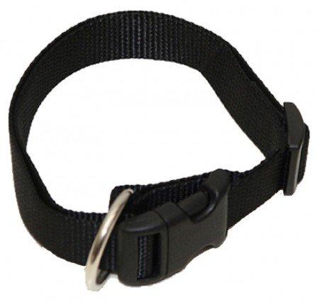 Hundehalsband, Wienerlock®, Soft Nylon, Uni Schwarz, 55-90cm, 25mm, mit Zugentlastung