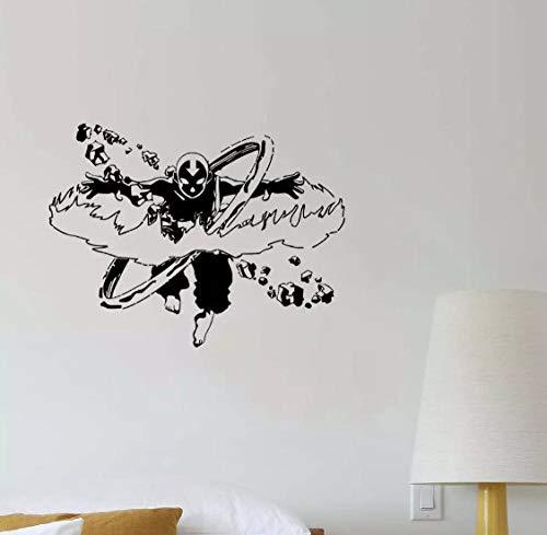 Ziruixiong Arte Anime Vinilo Pegatina Pared Calcomanía Aang Airbender Decoración Para Familia Diseño De Habitación De Niños 75X57Cm