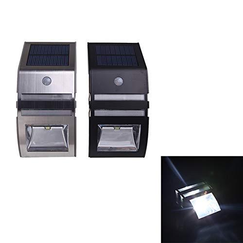 Abongone Waterdichte buitenverlichting op zonne-energie, met sensor, roestvrij staal, waterdicht