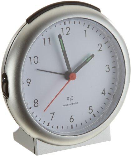 TFA Dostmann 98.1036 Analoger Funk-Wecker, mit Alarm, inklusive Funkuhr, 15,2 x 11,8 x 6,8 cm, silber