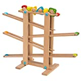 Fat Brain Toys FBT Wooden Marble Run - Roll 'n Go Wooden Marble Run Early Learning Toys for Ages 2 to 3