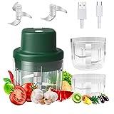 Mini Picadora Eléctrica de Procesador de Alimentos,Yumzeco 300ML/150ML Ajo Cebolla Vegetales Mini...