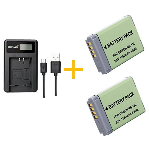 2 Piezas 1250mAh NB-13L NB13L Batería con Cargador de batería para Canon G5X / G5X Mark II / G7X / G7X Mark II / G7 X Mark III G9X SX620 HS SX720 HS Camera (2 pcs Battery with Charger)